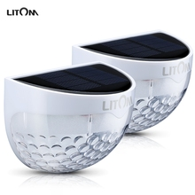 Litom LED Solar Light Outdoor Waterproof Garden Decoration Lawn Power Panel 6 Fence Wall Lamps - Patozon store