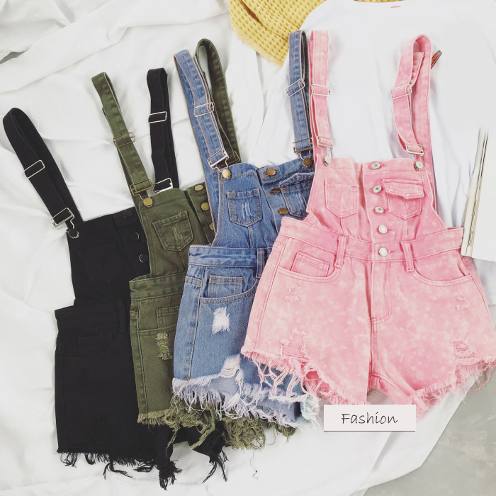 2018 new Korean college wind age denim strap shorts female wild thin students hole suspenders tide (10)