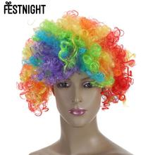 2016 FESTNIGHT Adult Colorful Clown Afro Wig Curly Synthetic Hair Halloween Masquerade Cosplay Costume Football Fans Wig(China)