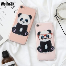 WeiFaJK KING Queen Cute Panda Dog Cat Phone Case For Apple iPhone 5 5s 6 6s Plus Flower TPU Soft Cases For iPhone 7 7Plus Cover
