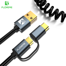 FLOVEME 2 1 QC 3.0 Fast Charger Type C Micro USB Cable Elastic Stretch Cabo Cable Samsung S9 S8 Plus S7 Android Data Sync