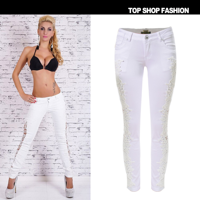 Ripped Jeans For Women New 2017 Spring European And American Hot Sale Sexy Openwork Lace Stitching Denim Pants Trousers Slim Одежда и ак�е��уары<br><br><br>Aliexpress