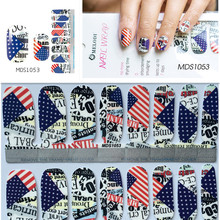 Independence Day American USA Flag Nail Wraps DIY Tips Decals Full Nail Art Sticker