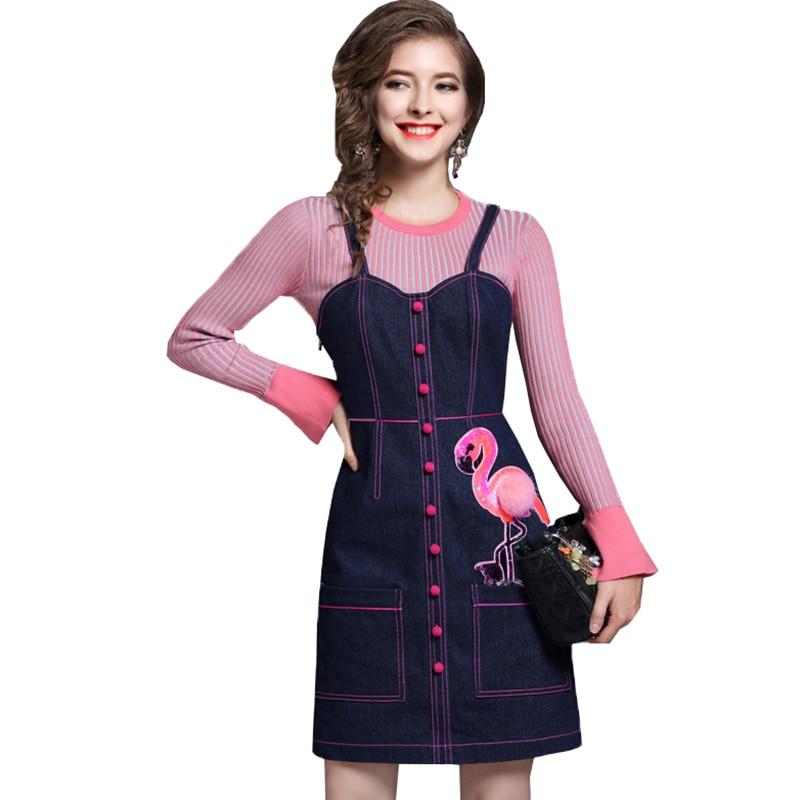 New Womens Denim Dress Two-Piece Suit 2018 Autumn Winter Round Neckt Speaker Sleeve Knitted Top Female Slim Sling Dresses LS108Îäåæäà è àêñåññóàðû<br><br>