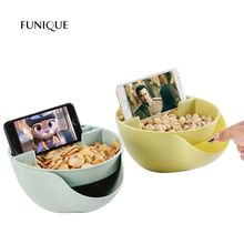 FUNIQUE New Creative Melon Seeds Nut Bowl Table Candy Snacks Dry Fruit Holder Storage Box Plate With Mobile Phone Stents(China)