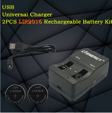 High-quality universal USB interface charger 1PCS + 10PCS rechargeable coin cell LIR2016 Button Battery