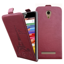 Embossed Pairs towel up and down pu leather flip case Flip Cover Open Phone Bags for Micromax Bolt Pace Q402