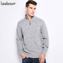Top Grade New Autumn Winter Fashion Men Knitted Sweater Stand Collar With Zipper Slim Fit Pullover Men 100% Sweaters For Men(China)