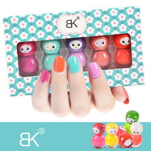 BK Brand 5Pcs/Set Water Base Peel Off Nail Polish Smell Faint Fragrance Nail Lacquer Parents and Children Enamel Paint