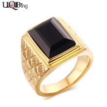 Buy 316L Stainless Steel Black Stone Luxury Rings Wholesale Gold-color Finger Rings Men Bijoux Fashion Jewelry for $4.79 in AliExpress store