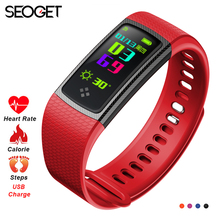 Seoget 0.96'' bluetooth smart bracelet smart band heart rate smart wristband activity tracker smart watch for android and iOS(China)