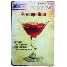Cosmopolitan Cocktail Metal Tin Sign Vintage decor Plaque Wine Plate for Hotel Music Lounge with for wall art LJ3-4 20x30cm B1