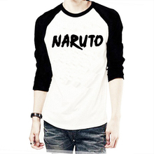 Japanese Comics Naruto Long Sleeve Letter Print T Shirt Male Clothes Boy Clothing Swag Fun Series Black White King Of Pirate