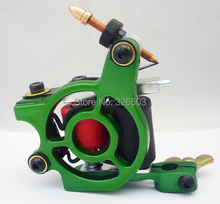 One Aluminum Alloy 10 Wrap Coils Tattoo Machine Gun For Kit Power Supply YAM05-F