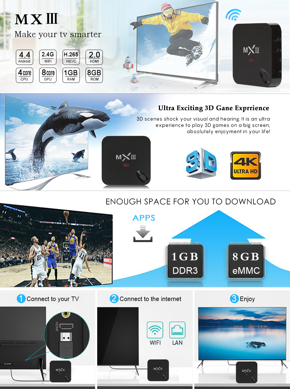 Android 4.4 Streaming TV BOX MXIII Amlogic S812 Quad Core 2GB 8GB BT4.0 STB