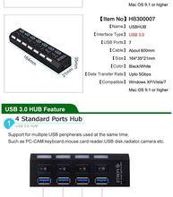 Micro USB 3.0 HUB Splitter With Power Adapter USB Hab High Speed 5Gbps USB Splitter 3 HUB For PC