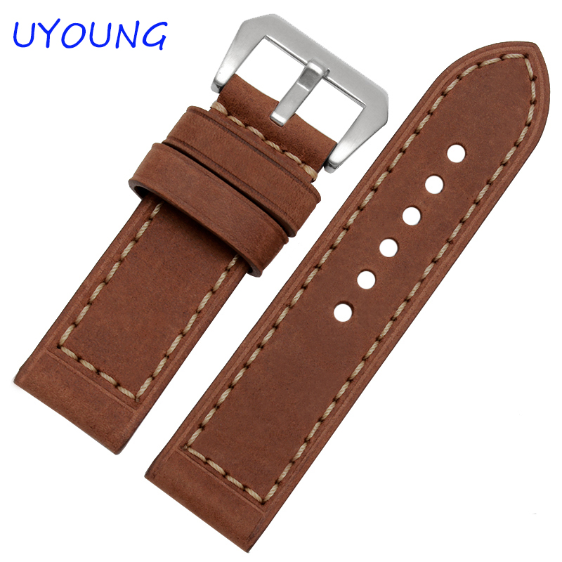 Scrub Genuine Leather Watch bands 20mm 22mm 24mm 26mm Mens Watch Accessories For Panerai Strap<br><br>Aliexpress