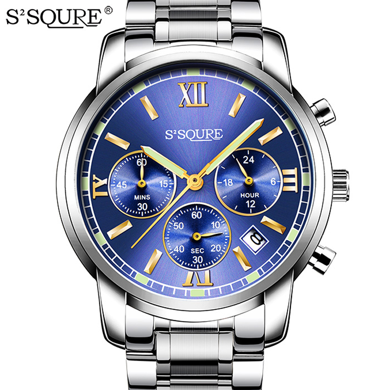 S2SQURE Top Brand 2017 Antarctic Series Full Steel Multifunction Men Watches Fashion Casual 6 Hands 24 Hours Watch Men relogio<br>