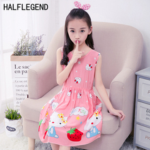 2017 Summer Baby Girl Princess Dress Hello Kitty Casual Beach Sundresses For Girl Kids clothing Red White 4-7 8 9 10 11 Years
