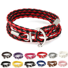 Friendship Bracelets for Women Men 13 Colors Faux Leather Silver Plated Anchor Charm Marine Style Bracelets & Bangles Jewelry