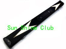 "Black with White Design 48"" 2 Compartments PU Leather Billiard Snooker Cue Case Hold 1pc 3/4 snooker cue with mini-extension"