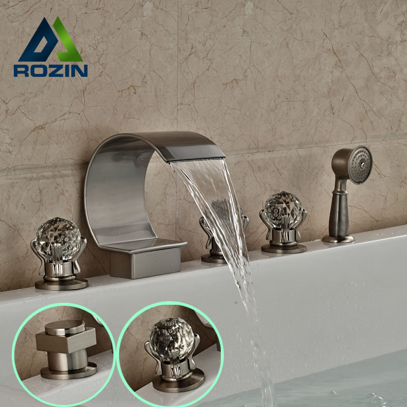 Modern Three Cristal Handle Bathroom Tub Mixer Faucet Deck Mount Brushed Nickel with Pull Out Handshower<br><br>Aliexpress