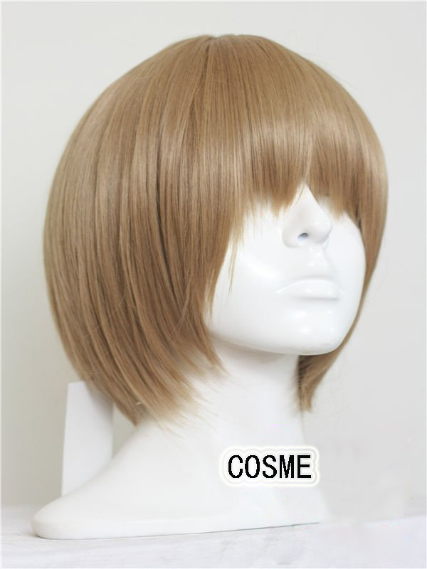 Gintama Okita Sougo blonde light brown 12inches short cosplay wigs universal lace front  anime wig + wig cap free shipping<br><br>Aliexpress