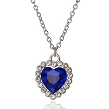 Free Shipping 12pcs/lot Romantic Titanic Ocean Heart Pendants For Women Charms With Blue Crystal Rhinestone Christmas Gifts