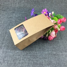 16x8x5cm100Pcs/ Lot Stand Up Kraft Paper Handle Package Box With Clear Window Party Gift Doypack Craft Paper Box