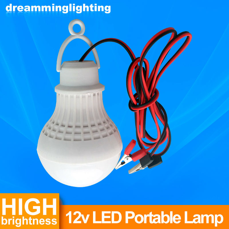 12V DC Led Bulb SMD 5730 Portable Lamp Outdoor Camp Tent Night Fishing Hanging emergency light with Crocodile Hook 3W 5W 7W 9W<br><br>Aliexpress