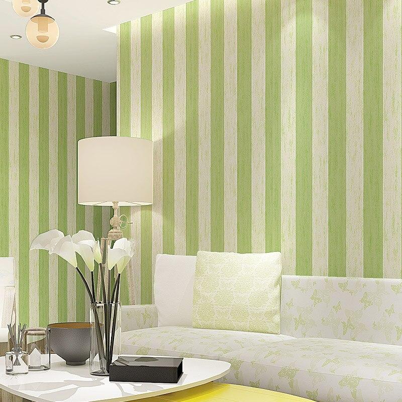 Modern New Vertical Wallpaper Stripes Non-woven Fabric Wallpaper, Living Room TV Background Wall Wallpaper, Blue Green Wallpaper<br>