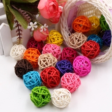 10Pcs/lot 3cm Artificial Straw Ball For Birthday Party Wedding Decoration Rattan ball Christmas Decor Home Ornament Supplies(China)