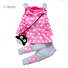Kids Baby Girl Clothes Sets Fashion High Qulity Dot Print Hooded Set For Girl Outfit Toddler Infant Children Suit 0 2 3 4 Years(China)