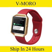 V-MORO  Large Soft Silicone Sport Watch Band With Metal Frame with Quick Release Pins for Fitbit Blaze Tracker