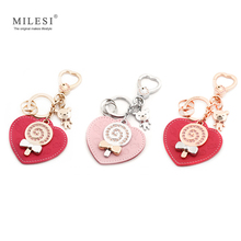 Milesi Brand Original Design Leather Heart Shape Keychain Car Keychain Pendant For Mother/Lover Novelty Gift Trinket D0035(China)