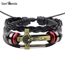 New Leather Bracelet Fashion Men Jewelry Charm Bracelets 2017 Cross INRI Jesus Adjustable Handmade Bangle For Women
