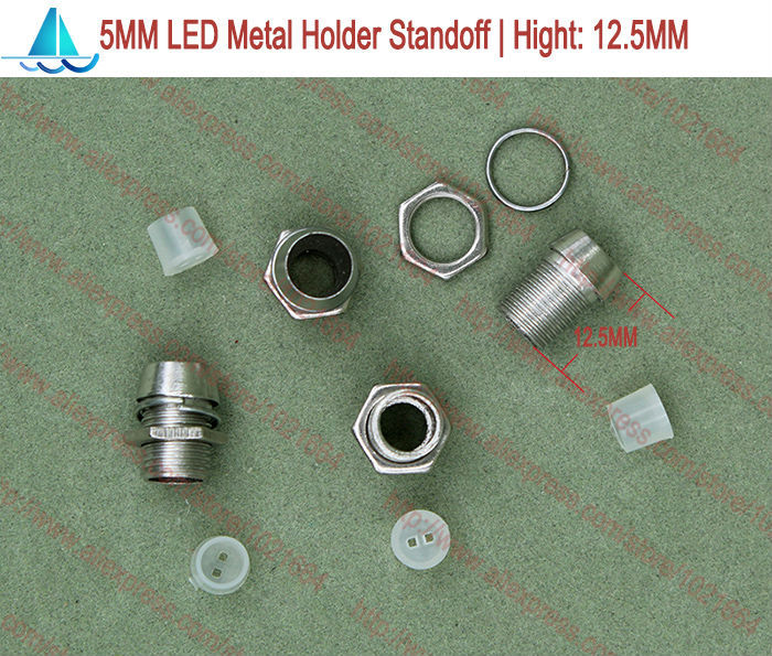 20pcs/lot 5MM LED Metal Bezel Lamp Holder Light Emitting Diode Spacer Support Standoffs(China)