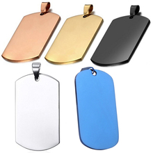 10 pcs Wholesale Rectangle 5 Colors Men Stainless Steel Stamping Blank Dog Tags Pendant Necklace Jewelry Findings 24*40mm