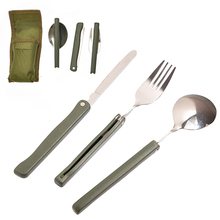 2016 3 Pcs Portable Camping Multifunction Folding Stainless Steel Fork Spoon Knife Cutlery Set