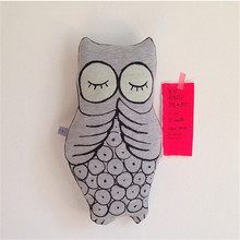 Nordic style Owl Luminous Eye Pillow Children's Room decoration Baby pacify pillow Decorative Dolls Home craft ornaments(China)