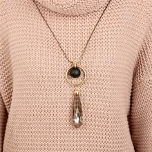 Buy Fashion Big Black Ball Bead Water Drop Crystal Resin Pendant Necklaces Women Long Sweater Chain Necklaces Jewelry for $5.50 in AliExpress store
