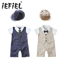 Baby Boys Rompers 2 Pieces Clothing Set Khaki Blue Hat + Vest Waistcoat Romper Gentleman Infant Jumpsuits Wedding Tuxedo Suit
