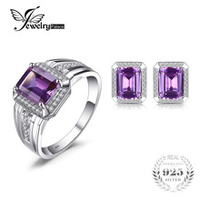 Jewelrypalace Emerald Cut Fashion Alexandrite Men's Cufflink Ring Jewelry Set 925 Sterling Silver Ring Men's Bridal Fine Jewelry(China)