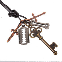 QN Ancient Ways To Fake Something Antique Hollow Out Key Pendeloque Cut Necklace Cowhide Leather Rope Pendant Free Shipping(China)