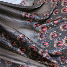 Vintage Peacock Feather Pattern Soft Lycra Satin Print Fabric Textile For Gowns Dress Scarfs