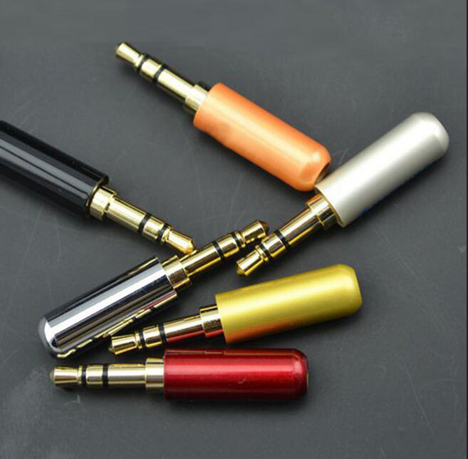 One Pieces 1PCS Silver Red Black White Orange Yellow 3 Pole 3.5mm Headphone Jack Plug Metal Audio Soldering & Back cover