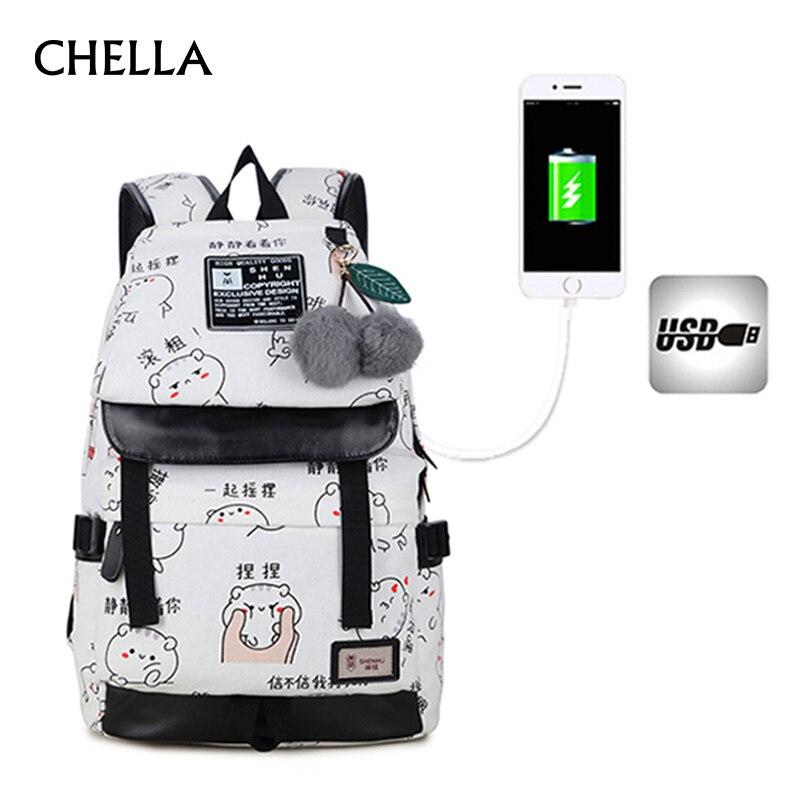 Women Emoji Backpack Canvas USB Charging Large Men Backpacks Waterproof 15 inch Computer Backpack Teenage School Bag BP0179<br>
