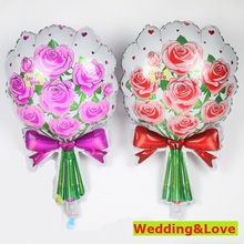 1PC 61cm hot new Rose balloons Wedding Marriage Birthday Party decoration foil balloons Red&Pink Rose flower Mother gift globoes