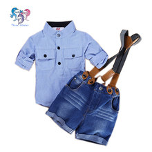 Summer Toddler Boys Summer Boutique Suspender Outfit Striped Short Pants Kids Designer Formal Clothing Boys Suit Shorts Sets