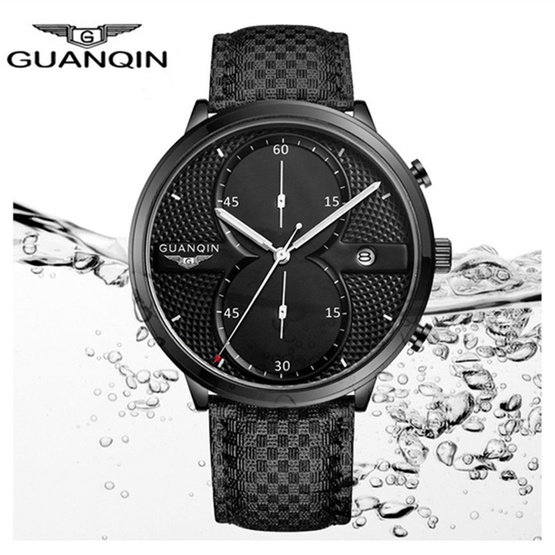 Chronograph Men Watches Top Brand Luxury GUANQIN Men Military Sport Luminous Wristwatch Leather Quartz Watch relogio masculino<br>